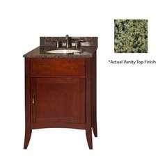 "24"" Metro Single Sink Vanity w/ Green Top - Brown Cherry"