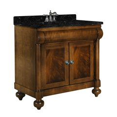 "36"" John Adams Single Sink Vanity w/ Black Top- Brown Cherry"