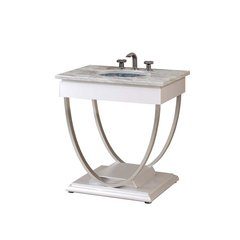 "30"" Ascetic Single Sink Vanity w/ Oceana Sink-White/Gray Top"