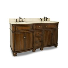 "60"" Compton Double Sink Bathroom Vanity - Walnut"