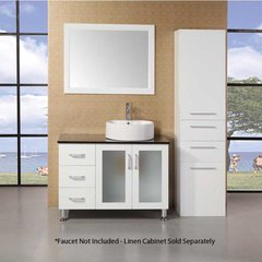 "39"" Malibu Single Vessel Sink Bathroom Vanity - White"