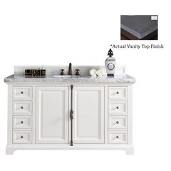 "60"" Providence Vanity w/ Black Rustic Top - Cottage White"