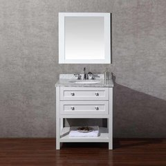 "30"" Marla Single Vanity - White/Carrara White Top"