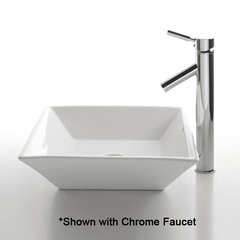 "16"" White Square Vessel Sink w/ Faucet - White/Satin Nickel"