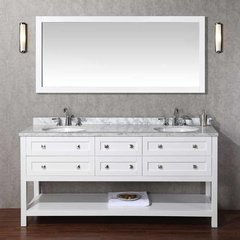 "72"" Marla Double Vanity - White/Carrara White Top"