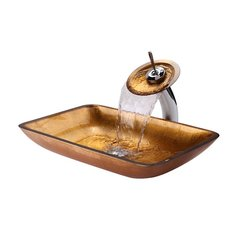 "22"" Golden Pearl Vessel Sink w/ Faucet - Multicolor/Chrome"