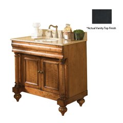 "36"" Guild Hall Single Vanity w/ Black Top - Distressed Pecan"