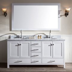"73"" Cambridge Double Sink Bathroom Vanity - White"