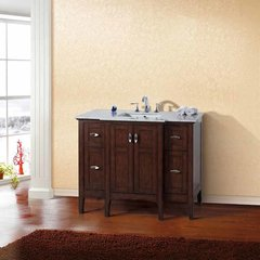 "45"" Single Sink Bathroom Vanity - Sable Walnut/White Top <small>(#7614-SW-WH)</small>"