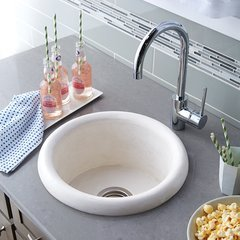 "16"" Round Pozo NativeStone Drop In Bar Sink - Pearl"