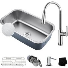 "31-1/2"" Undermount Single Bowl Kitchen Sink Package-Chrome"