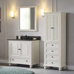 "37"" Thompson Single Vanity - French White w/ Black Top"