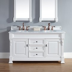 "60"" Brookfield Double Vanity w/ Carrara White Top-Cott White"