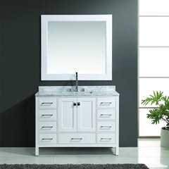 "48"" London Single Sink Bathroom Vanity w/ Mirror - White"
