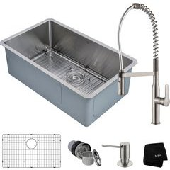 """30"""" Undermount Single Bowl Kitchen Sink Package Stainless"""