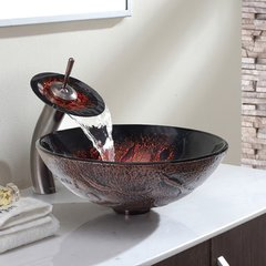 "16"" Lava Vessel Sink w/ Faucet - Multicolor/Oil Rub Bronze"