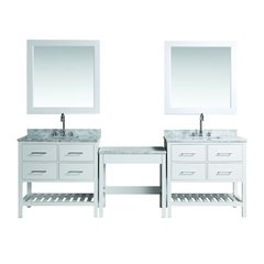 """Two 30"""" London Single Sink Vanity w/ Make-up Table - White"""
