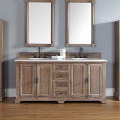 "72"" Providence Double Vanity w/ Carrara White Top-Driftwood"