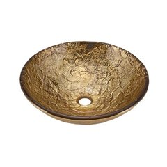 "16"" x 5-1/2"" Vessel Bathroom Sink - 24K Gold"