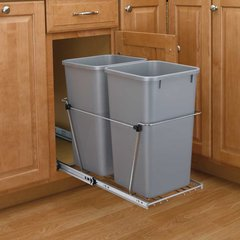 Double Trash Pullout 27 Quart-Silver