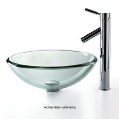 "17"" Clear Vessel Sink w/ Faucet - Clear/Satin Nickel"