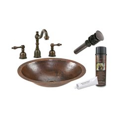 "17"" x 13"" Oval Undermount Sink Package - Oil Rubbed Bronze"