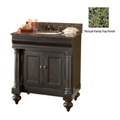 "36"" Guild Hall Single Vanity w/ Green Top- Distressed Black"