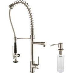 Comnmercial One Handle Kitchen Faucet & Soap Dispenser Steel