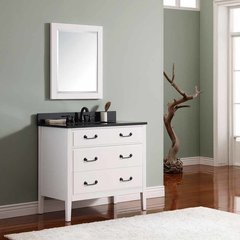"37"" Delano Single Vanity - White w/ Black Top"