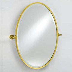 "Radiance Gear Tilt 18"" Oval Mirror - Polished Brass"