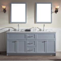 """73"""" Hamlet Double Sink Vanity w/ White Quartz Top - Gray"""