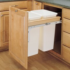 Double Trash Pullout 50 Quart-Wood
