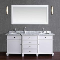 "60"" Cadence Double Vanity - White/Carrara White Top"
