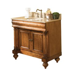 "36"" Guild Hall Single Vanity w/ Gold Top - Distressed Pecan"
