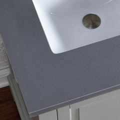 "36"" Single Bowl Vanity Top Only - Shadow Gray Quartz"