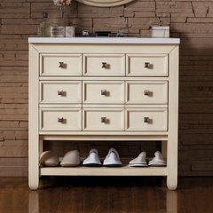 "33"" Victoria Single Vanity w/ Snow White Top-Vanilla Oak"