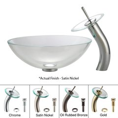 "16"" Crystal Vessel Sink w/ Faucet - Clear/Satin Nickel"