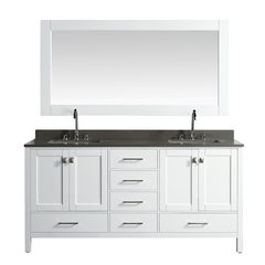 "72"" London Double Vanity w/ Gray Quartz Top & Mirror-White"