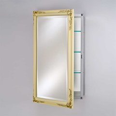 "Basix Plus 16"" Mirrored Medicine Cabinet - Antique Biscuit"