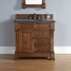 "36"" Brookfield Single Vanity w/ Absolute Black Top-Cntry Oak"