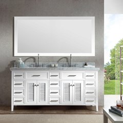 "73"" Kensington Double Sink Bathroom Vanity - White"