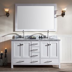 "61"" Cambridge Double Sink Bathroom Vanity - White"