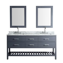 "72"" London Double Sink Bathroom Vanity w/ White Top - Gray"