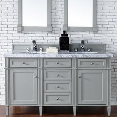 """60"""" Brittany Double Vanity w/Cararra White Top - Urban Gray"""