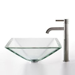 "16"" Square Clear Vessel Sink w/ Faucet - Clear/Satin Nickel"