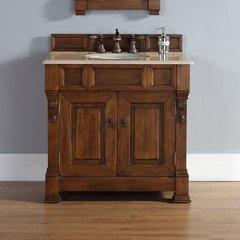 """36"""" Brookfield Single Vanity w/ Galala Beige Top-Country Oak"""
