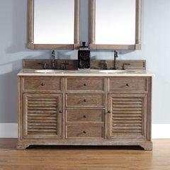 """72"""" Savannah Double Vanity w/ Galala Beige Top-Driftwood"""