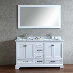 "60"" Chanel Double Vanity - White/Carrara White Top"