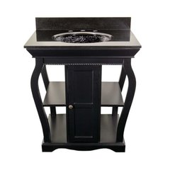 "30"" Vineta Single Sink Bathroom Vanity - Black/Black Top"