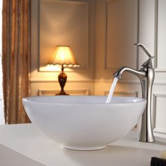 "15"" White Round Vessel Sink w/ Faucet - White/Brushed Nickel"